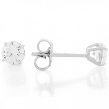 Sterling Silver Round Brilliant Cut 4mm White CZ Post-style Earrings - CX11HOLQ8FL