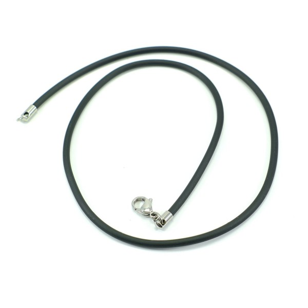 "BLACK RUBBER 3mm NECKLACE CORD CHAIN STAINLESS STEEL CLASP 18.5"" - CB11B7E3K7F"