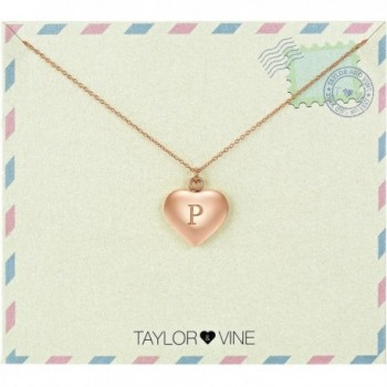 "Love Letter Initial Necklace Heart Pendant Engraved I Love You- 16"" by Taylor and Vine - CF12NETFBJ7"