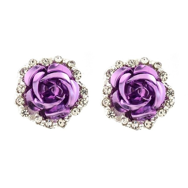 1 Pair Women Fashion Jewelry Lady Elegant Crystal Rose Flower Ear Stud Earrings - Purple - C91872T408R