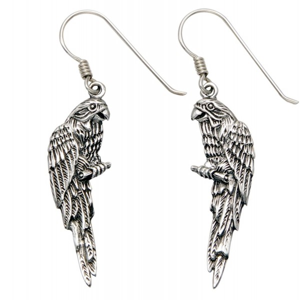 Sterling Silver Parrot on Perch Wire Earrings - CN11HOWAE6X