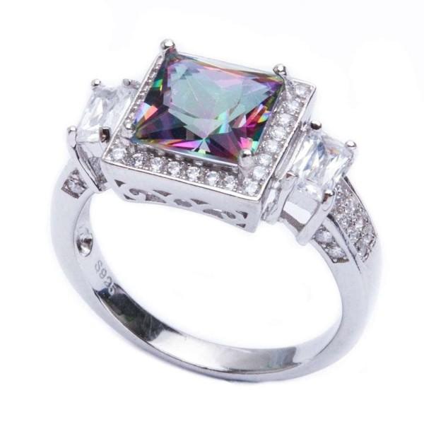 .925 Sterling Silver 5.50ct Princess Cut Rainbow Colored Cz & Cz Ring Sizes 5-10 SRC16208-RT - CS11K2RTJJL