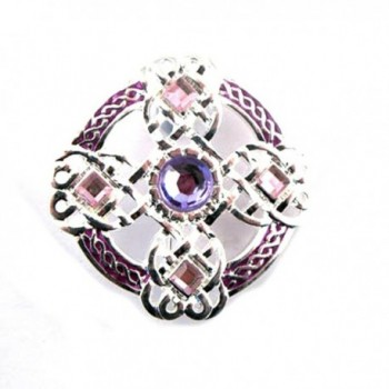 Silver Plated Celtic Brooch with Coloured Enamel And Faceted Stones. - CG11TMIPGST