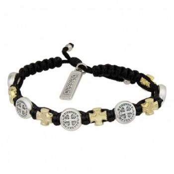 Blessings in Faith Gold Tone and Silver Tone Cross Bracelet - Gold and Silver Plated Medals on Black - CG124S02DT5