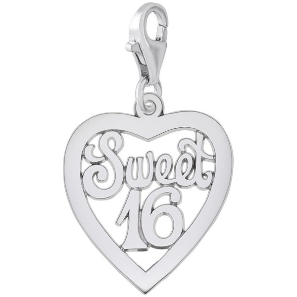 Sweet 16 Charm With Lobster Claw Clasp- Charms for Bracelets and Necklaces - C111JPSTF83