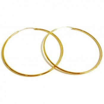 24k Yellow Gold Plated Large Continuous Endless Hoop Earrings 45 mm x 1.5 mm Tube Thick - CZ11AYTHW45