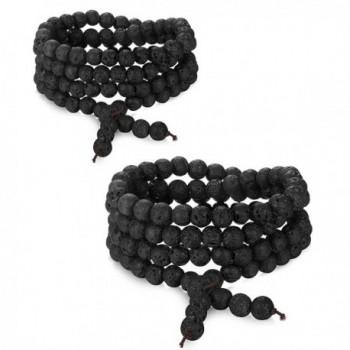 FUNRUN JEWELRY Beaded Bracelets for Men Women Lava Rock Stone Prayer Mala Bracelet Necklace Elastic - CR185Q3H4K3