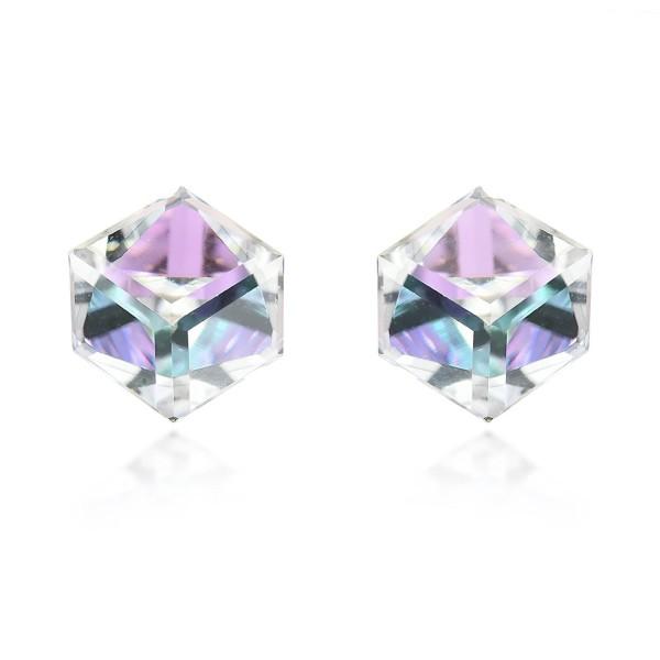 3.5 mm Light Blue-Purple Fashion Crystal Cube .925 Sterling Silver Stud Earrings - CV11QGQQKLH