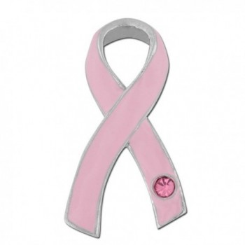 PinMart's Breast Cancer Pink Awareness Ribbon with Rhinestone Enamel Lapel Pin - CQ11K4WYLI3