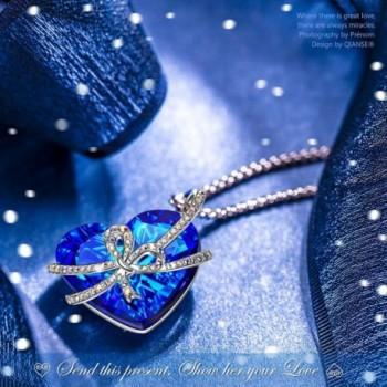 QIANSE Necklaces Girlfriend Swarovski Anniversary in Women's Pendants