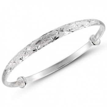Weekly Promotion 30% Discount Merdia S990 Sterling Silver Adjustable Textured Bangle Bracelet (Mill finish) - CB11CYUPOZH