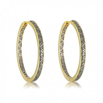 Richapex 18K Gold Plated Brass and Cubic Zirconia Hoop Earrings by - Silver-gold - CB1885E2WXT