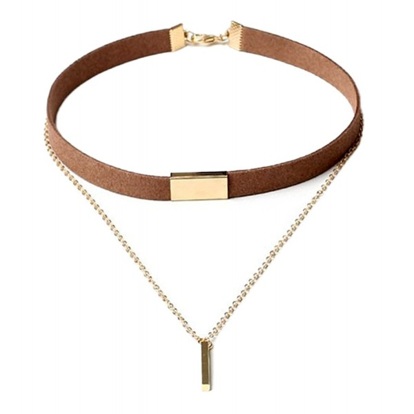 StylesILove Womens Two Layers Metal Chain Velvet Choker Fashion Collar Necklace - Brown and Gold - CM17YE2N6L0