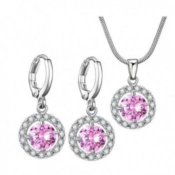 Bridesmaid Wedding Necklace Earrings Christmas - Pink October - CI188IEN45N