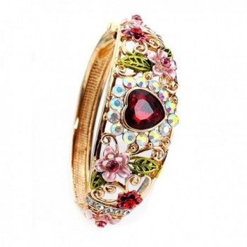 Women Heart Austrian Crystal Enamel Rose Flower Leaf Bangle Bracelet Gold Plated 5 colors - Red - CC1855EKK93