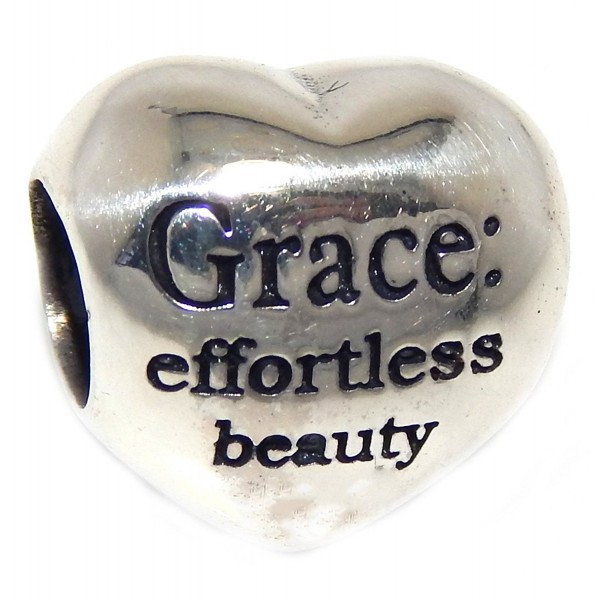 """Solid 925 Sterling Silver """" 'Grace: effortless beauty' Heart"""" Charm Bead - CY12O20NVIY"""