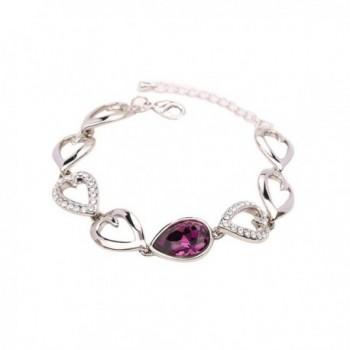"Gimuchy White Gold Swarovski Element Crystal ""Lovesick Leaf "" Bracelet for Valentine's Day Bangle 017 - C912HIZ3FD5"