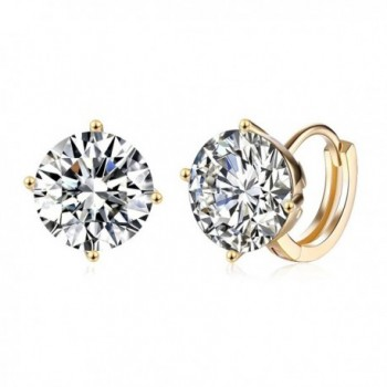 14K Gold Plated With Cubic Zirconia CZ Diamond Small Round Halo Hoop Earrings for Women Girl - C2188E33WZW