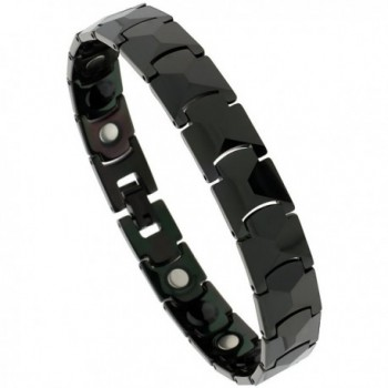 Tungsten Black Bracelet Magnetic Therapy- Faceted Links- 1/2 inch wide- - CM11675U59F
