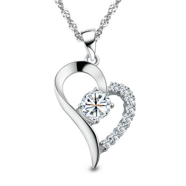 You Are the Only One in My Heart Sterling Silver Pendant Necklace- 18'' - CX12F2PFFJP