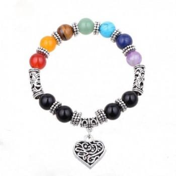 ISHOW 7 Chakra Healing Balance Stone Beaded Bracelet Yoga Reiki Charm Heart Bracelets - CO12CW5UT71