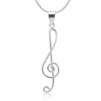 925 Sterling Silver Treble G Clef Musical Note Music Lover Pendant Necklace Silver Chain 18 inches - C21272JTCUH