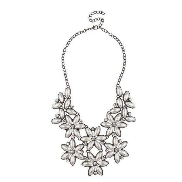 Lux Accessories Crystal Floral Flower Elegant Bride Bridal Statement Necklace. - CR11YLDLQST
