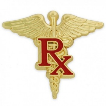 PinMart's Gold and Red RX Caduceus Enamel Lapel Pin - CF11RM4HBE7