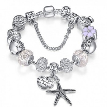 Presentski Silver Plate Charm Bracelet Christmas Gift for Beloved Ones - White 7.9inches - CY12N79QPFW