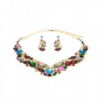 Rhinestone Necklace Earrings Jewelry Gold Tone in Women's Jewelry Sets