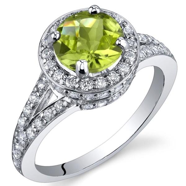 Majestic Sensation 1.25 Carats Peridot Ring in Sterling Silver Rhodium Nickel Finish Sizes 5 to 9 - CA115WB7YOJ