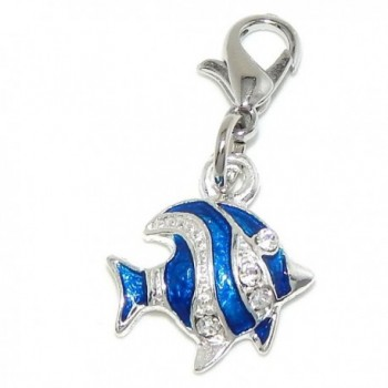 "Pro Jewelry Dangling ""Silver and Blue Fish w/ Crystals"" Clip-on Bead for Charm Bracelet 56195 - CI11VVKNJ3P"