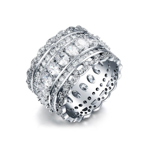SPILOVE Serend Vintage Style Cubic Zirconia Wide Band Statement Cocktail Ring 18k White Gold Plated Jewelry - CG12LDC3S6D