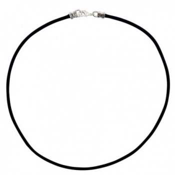 Sterling Silver 3mm Thick Black Leather Cord Necklace - CZ12NGHJHDG