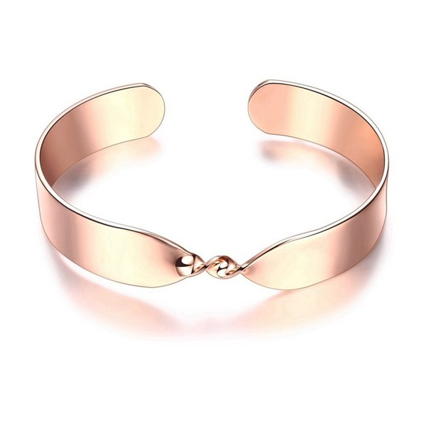 Fashion Rose Gold Plated Twisted Bangle for Women Gorgeous Simple Style Cuff Bracelet - CM188QWU4X8