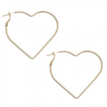 Hear Shape with Gold or Silver Rhodium Plated Hoop Statement Earrings - GOLD COLOR - C91869EMORE