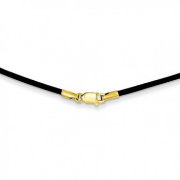 14k Yellow Gold 1.5mm 18in Black Leather Cord Necklace. - CM119CBK23F