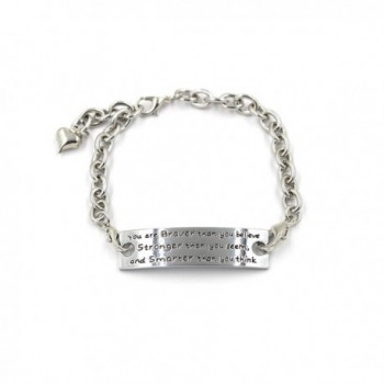 You are Braver Than You Believe Embossed Words Cuff Inspirational Metal Bangle Bracelet with Heart Charm - CS12JPLYLEH