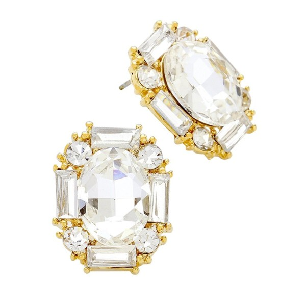 Rosemarie Collections Women's Elegant Oval Crystal Rhinestone Stud Earrings - Gold-Clear Color - CW12N813EIX
