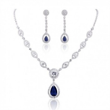 GULICX AAA Cubic Zirconia CZ Silver Plated Base Women's Party Jewelry Set Earrings Pendant Necklace - CY128BQN4IB