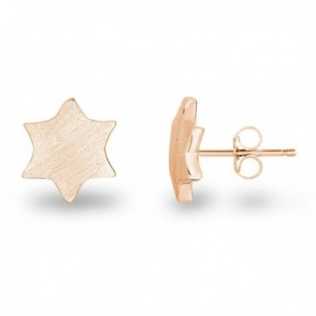 Sterling Silver Plain Matte Finish Geometric 6-Point Hexagram Star David Stud Earrings - CW12F41XKUN