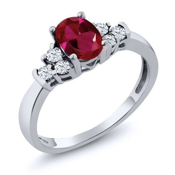0.92 Ct Oval Red Created Ruby White Topaz 925 Sterling Silver Ring (Available in size 5- 6- 7- 8- 9) - CM11NNNALQP