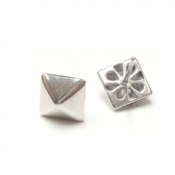 .925 Sterling Silver Pyramid Stud Earrings - C511MJBEJRP