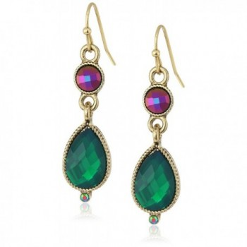 1928 Jewelry Gold-Tone Emerald Green Teardrop Earrings - CS122JYMRBV