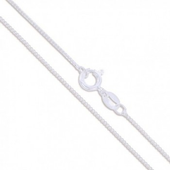 Sterling Silver 1mm Box Chain Necklace - Spring Clasp - CQ11GQ4FH27
