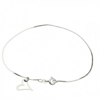 "Sterling Silver Heart Charm Serpentine Nickel Free Chain Anklet Italy- 9.5"" - C911DYABPT9"