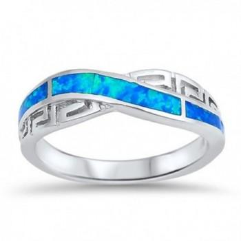Sterling Silver Greek Key Knot Ring - Blue Simulated Opal - CM12MWYW1ZE