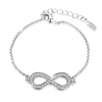 "J.Fée "" Endless Love "" Infinity Symbol Charm Adjustable Bangle Bracelet Made with Swarovski Crystals - Silver - C31884SKR9L"