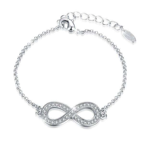 """J.Fée """" Endless Love """" Infinity Symbol Charm Adjustable Bangle Bracelet Made with Swarovski Crystals - Silver - C31884SKR9L"""