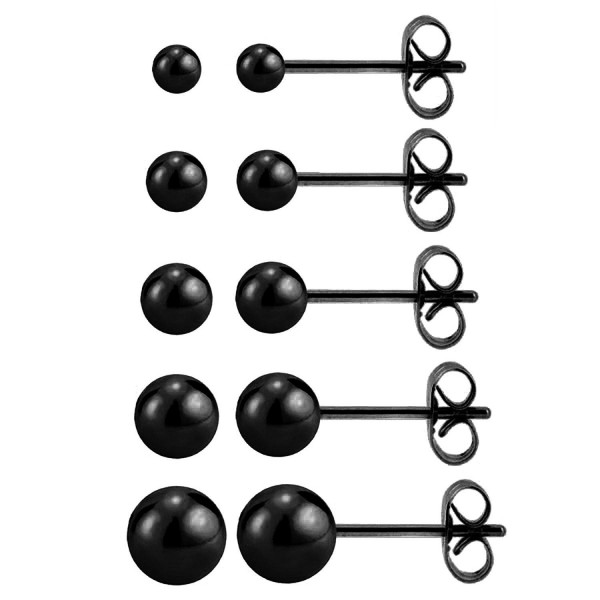 Charisma 20G Stainless Steel Round Ball Studs Earrings 5 Pair Set Assorted Sizes - Black Plated - CC12MZO761N